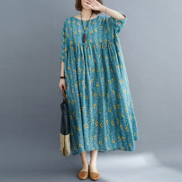 Dress Summer 2021 Brown, green Average size longuette singleton  Short sleeve commute Crew neck Loose waist Decor Socket Big swing routine Others 30-34 years old Type A literature Asymmetry, printing 71% (inclusive) - 80% (inclusive) brocade cotton