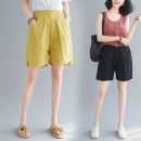 Women's large Summer 2020 Lemon yellow, black Average size [90-160 Jin] trousers singleton  commute easy moderate Solid color Korean version Cotton, hemp Three dimensional cutting 18-24 years old pocket 96% and above shorts Cotton 61% - 70%