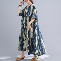 Dress Summer 2021 blue Average size longuette singleton  Short sleeve commute Crew neck Loose waist Abstract pattern Socket Big swing Bat sleeve Others 35-39 years old Type A ethnic style Asymmetry, printing 51% (inclusive) - 70% (inclusive) other cotton