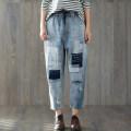 Jeans Summer of 2018 blue M [95-120 Jin], l [120-140 Jin], XL [140-160 Jin], 2XL [160-180 Jin], 3XL [180-200 Jin] Ninth pants Natural waist loose  routine Wear out, stick cloth Thin denim light colour 96% and above