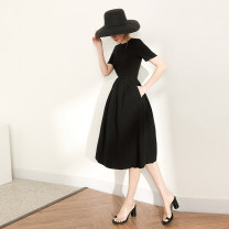 Dress Summer of 2019 black S M L XL Middle-skirt singleton  Short sleeve commute Crew neck High waist Solid color Socket Lantern skirt routine Others 25-29 years old Type A Sirain / ziyue Retro Lotus edge wave 192YQ0015 More than 95% polyester fiber Polyester 100%