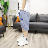 trousers Other / other male 155cm(29#),160cm(30#),165cm(31#),170cm(32#),175cm(33#),180cm(34#) wathet summer Capris leisure time There are models in the real shooting Jeans Leather belt middle-waisted Cotton elastic denim 10, 11, 12, 13, 14