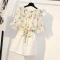 Women's large Summer 2021 White shorts suit black shorts suit M L XL 2XL 3XL 4XL Other oversize styles Two piece set commute easy moderate Socket Short sleeve Solid colors Korean version One word collar routine polyester Three dimensional cutting pagoda sleeve QBM  9054# Visemia 25-29 years old bow
