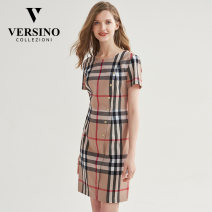 Dress Summer 2020 S M L XL XXL XXXL Mid length dress Short sleeve commute middle-waisted A-line skirt routine 30-34 years old Versino / versino Simplicity 51% (inclusive) - 70% (inclusive) cotton Same model in shopping mall (sold online and offline)