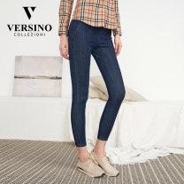 Jeans Autumn 2020 Blue 53V S M L XL XXL XXXL trousers Natural waist Pencil pants PWAJ-18B405 Versino / versino Cotton 53.6% polyester 40.7% polyurethane elastic fiber (spandex) 1% others 4.7% Same model in shopping mall (sold online and offline)