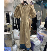 Dress Summer 2021 Apricot, black S,M,L longuette singleton  Short sleeve commute V-neck High waist Solid color Single breasted other puff sleeve Others 25-29 years old Type X Smzy / Aestheticism Korean version Lace up, button F89872 91% (inclusive) - 95% (inclusive) other cotton