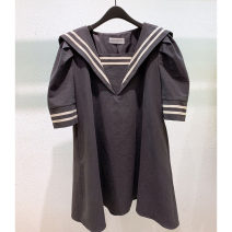 Dress Summer 2021 Black, green S,M,L Mid length dress singleton  Short sleeve commute Admiral Loose waist Solid color Socket puff sleeve Others 25-29 years old Type A Smzy / Aestheticism Korean version F89828 91% (inclusive) - 95% (inclusive) cotton