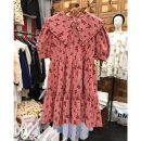 Dress Summer 2021 Red, black, yellow S,M,L Mid length dress singleton  Short sleeve commute Doll Collar Loose waist Broken flowers Socket other puff sleeve Others 25-29 years old Type A Smzy / Aestheticism Korean version fungus F89762 91% (inclusive) - 95% (inclusive) other cotton