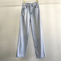 Jeans Summer 2021 Denim white S,M,L trousers High waist Wide legged trousers routine 25-29 years old Whitening Cotton elastic denim light colour 96% and above