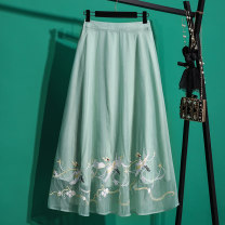 skirt Summer 2020 Average size green Mid length dress commute High waist A-line skirt Animal pattern Type A Chiffon nylon Embroidery, stitching ethnic style