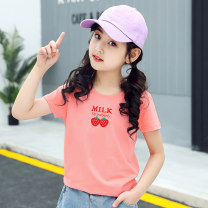 T-shirt Strawberry white strawberry powder strawberry yellow strawberry grey Yuanchaoqv / tidal area 110cm 120cm 130cm 140cm 150cm 160cm female summer Short sleeve Crew neck leisure time There are models in the real shooting nothing cotton Cotton 100% 2019NVDX1-1 Class B other Spring of 2019