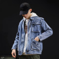 Jacket Dunmanflag / Dunman banner Youth fashion blue M L XL 2XL 3XL thick easy Other leisure autumn XD-8130 Cotton 100% Long sleeves Wear out Lapel tide Large size routine Single breasted Straight hem washing Loose cuff other Denim Autumn of 2019 More than two bags) Three dimensional bag cotton