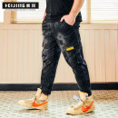 Jeans Youth fashion Heijin 2XL 3XL 4XL 5XL 6XL 1XL Camouflage black Thin money Micro bomb Ninth pants Cotton 97% polyurethane elastic fiber (spandex) 3% summer Large size middle-waisted Military brigade of tooling 2019 Little straight foot Summer of 2019