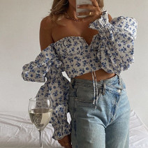 Lace / Chiffon Summer 2021 white XS,S,M,L Long sleeves street Cardigan singleton  Self cultivation have cash less than that is registered in the accounts square neck other pagoda sleeve Open back, lace up 31% (inclusive) - 50% (inclusive) polyester fiber Europe and America