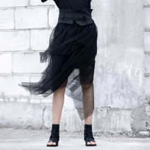 skirt Summer of 2019 S,M,L,XL black Middle-skirt High waist Irregular Solid color Type A 25-29 years old Splicing