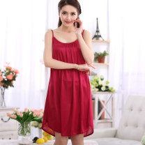 Nightdress Darshuang 160(M) 165(L) 170(XL) 175(XXL) XXXL Simplicity camisole pajamas Middle-skirt summer Solid color youth Crew neck Iced silk lace More than 95% polyester fiber 188 jujube Spring and summer 2016 Polyester 100%