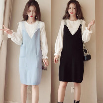 Women's large Autumn of 2018, winter of 2018 Black, blue M [recommended 80-100 Jin], l [recommended 100-120 Jin], XL [120-140 Jin], 2XL [140-160 Jin recommended], 3XL [160-180 Jin recommended], 4XL [180-200 Jin recommended] Dress Two piece set commute Self cultivation moderate Socket Long sleeves