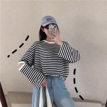Women's large Winter of 2019, autumn of 2019 Red stripe, black stripe L [recommended 100-115 kg], XL [recommended 115-130 kg], 2XL [recommended 130-150 kg], 3XL [recommended 150-170 kg], 4XL [recommended 170-200 kg] T-shirt singleton  commute easy moderate Socket Long sleeves stripe Korean version