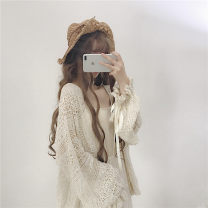 Women's large Apricot Average size [100-200kg recommended] Knitwear / cardigan singleton  commute easy thin Cardigan Long sleeves Solid color Korean version Medium length Polyester, cotton Three dimensional cutting bishop sleeve F222 18-24 years old Gouhua hollow 51% (inclusive) - 70% (inclusive)