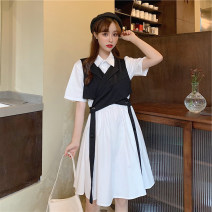 Women's large Summer 2020 Single skirt, single waistcoat XL [recommended 95-115 kg], 2XL [recommended 115-135 kg], 3XL [recommended 135-155 kg], 4XL [recommended 155-175 kg], 5XL [recommended 175-200 kg] Dress Two piece set commute easy moderate Socket Short sleeve Solid color Korean version routine