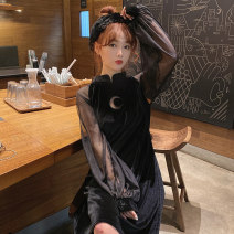 Dress Spring 2020 black L [100-120 Jin recommended], XL [120-140 Jin recommended], 2XL [140-160 Jin recommended], 3XL [160-180 Jin recommended], 4XL [180-200 Jin recommended] Mid length dress Fake two pieces Long sleeves commute stand collar Loose waist Solid color A-line skirt bishop sleeve Type A