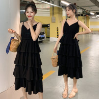 Women's large Summer of 2019 black M [80-100 Jin], l [100-120 Jin], XL [120-140 Jin], 2XL [140-160 Jin], 3XL [160-180 Jin], 4XL [180-200 Jin] Dress singleton  commute easy moderate Socket Solid color Korean version V-neck polyester Three dimensional cutting W2829 Three dimensional decoration