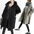 Women's large Autumn 2017, winter 2017 Black, gray L [recommended 100-115 kg], XL [recommended 115-130 kg], 2XL [recommended 130-150 kg], 3XL [recommended 150-170 kg], 4XL [recommended 170-200 kg] Windbreaker singleton  commute easy moderate Cardigan Long sleeves Solid color Korean version Hood