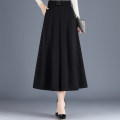 skirt Spring 2021 M,L,XL,2XL black longuette commute High waist A-line skirt Solid color Type A 25-29 years old Other / other Folds, pockets Korean version