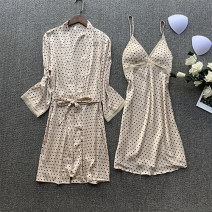 Pajamas / housewear set female hyz  160(M),165(L),170(XL) Champagne, Burgundy, green, orange wool Long sleeves sexy pajamas spring Thin money V-neck Dot Socket youth 2 pieces More than 95% silk printing 200g and below Short skirt