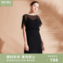 Dress Summer of 2019 black 155/80A/S,160/84A/M,165/88A/L,170/92A/XL Middle-skirt singleton  Short sleeve commute One word collar middle-waisted Solid color other One pace skirt Lotus leaf sleeve 25-29 years old Type H Naivie Simplicity Asymmetry More than 95% other other