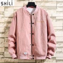 Jacket Shi Li Fashion City Grey Pink Black White XXL M L XL 3XL routine Self cultivation Other leisure spring JK2276 Cotton 67% polyester 33% Long sleeves Wear out stand collar tide youth routine Single breasted Cloth hem No iron treatment Closing sleeve Solid color corduroy Spring 2020 cotton