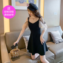 Dress Summer 2021 Black, spot on the same day, collection + attention to send small gifts S,M,L,XL,2XL Short skirt singleton  Short sleeve commute V-neck High waist Solid color zipper A-line skirt camisole 25-29 years old Type A Retro Stitching, bead nailing, mesh