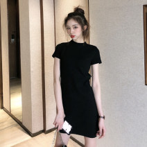Dress Summer of 2019 black S M L Short skirt singleton  Short sleeve commute Crew neck High waist Solid color Socket Pencil skirt routine Breast wrapping 25-29 years old Type X Ounynyca / oneica Korean version Splicing S1884 More than 95% knitting polyester fiber Polyester 100%