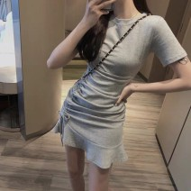Dress Summer of 2019 Grey black S M L XL Short skirt singleton  Short sleeve commute Crew neck middle-waisted Solid color zipper Ruffle Skirt routine Breast wrapping 25-29 years old Type X Ounynyca / oneica Korean version Pleated zipper S1354 More than 95% brocade polyester fiber Polyester 100%