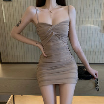Dress Autumn of 2019 Black Khaki S M L XL Short skirt singleton  Sleeveless commute V-neck middle-waisted Solid color zipper Pencil skirt other camisole 25-29 years old Type X Ounynyca / oneica Korean version Y316 More than 95% other polyester fiber Polyester 100% Pure e-commerce (online only)