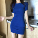 Dress Summer of 2019 Blue grey black S M L Short skirt singleton  Short sleeve commute Crew neck High waist Solid color Socket Pencil skirt routine Breast wrapping 18-24 years old Type X Ounynyca / oneica Korean version Splicing S1085 More than 95% knitting polyester fiber Polyester 100%