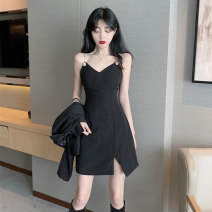 Dress Summer 2020 S M L XL Short skirt singleton  Sleeveless commute V-neck High waist Solid color zipper A-line skirt other camisole 18-24 years old Type A Ounynyca / oneica Korean version More than 95% brocade polyester fiber Polyester 100% Pure e-commerce (online only)