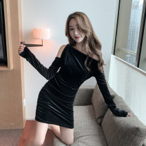 Dress Winter of 2019 black S M L XL Short skirt singleton  Long sleeves commute One word collar High waist Solid color Socket One pace skirt routine Breast wrapping 25-29 years old Type X Ounynyca / oneica Korean version Splicing Oy229-a More than 95% other polyester fiber Polyester 100%