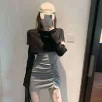 Dress Autumn 2020 S M L Short skirt Two piece set Long sleeves commute Crew neck High waist Solid color Socket One pace skirt routine Breast wrapping 25-29 years old Type X Ounynyca / oneica Korean version Pleated lace up stitching More than 95% brocade polyester fiber Polyester 100%
