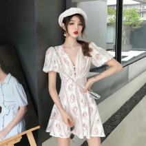 Dress Summer of 2019 white S M L XL Short skirt singleton  Short sleeve commute V-neck High waist Solid color Socket A-line skirt routine Breast wrapping 25-29 years old Type A Ounynyca / oneica Korean version Splicing S1752 More than 95% Lace polyester fiber Polyester 100%