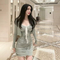 Dress Spring 2021 Rose pink and greyish green S M L Short skirt Two piece set Sleeveless commute V-neck High waist Solid color Socket One pace skirt routine camisole 18-24 years old Type X Ounynyca / oneica Korean version Open back fold splicing Aos5073 More than 95% brocade polyester fiber