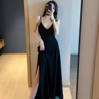 Dress Summer of 2019 Black Medium length [to calf] black long [to instep] S M L XL Mid length dress singleton  Sleeveless commute V-neck middle-waisted Solid color Socket Big swing other camisole 25-29 years old Type A Ounynyca / oneica Korean version Splicing S2189 More than 95% brocade