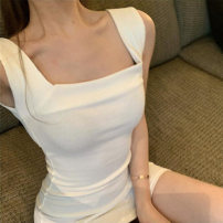 Dress Spring 2021 Black white grey S M L Short skirt singleton  Long sleeves commute square neck High waist Solid color Socket Pencil skirt routine camisole 18-24 years old Type X Ounynyca / oneica Korean version Splicing More than 95% knitting polyester fiber Polyester 100%