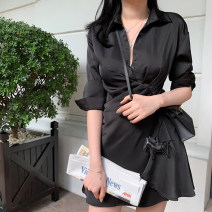 Dress Summer of 2019 Black Quarter Sleeve White Quarter Sleeve Black Short Sleeve White Short Sleeve S M L XL Short skirt singleton  elbow sleeve commute Polo collar High waist Solid color Single breasted Big swing shirt sleeve Breast wrapping 25-29 years old Type X Ounynyca / oneica Korean version