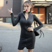 Dress Winter 2017 grey S M L Short skirt singleton  Long sleeves commute stand collar middle-waisted Solid color zipper Pencil skirt routine Breast wrapping 25-29 years old Type X Ounynyca / oneica Korean version Stitching zipper 81% (inclusive) - 90% (inclusive) knitting polyester fiber