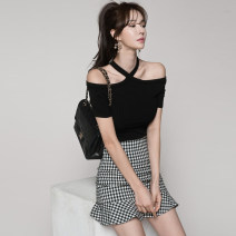 Dress Summer of 2018 Black + grey S M L XL XXL Short skirt Two piece set Short sleeve commute One word collar High waist lattice zipper Pencil skirt Sleeve Breast wrapping 25-29 years old Type X Ounynyca / oneica Korean version Pleated zipper S271 More than 95% brocade polyester fiber Polyester 100%