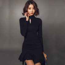 Dress Summer of 2018 black S M L XL XXL Short skirt singleton  Long sleeves commute stand collar middle-waisted Solid color zipper Pencil skirt routine Breast wrapping 25-29 years old Type X Ounynyca / oneica Korean version Three dimensional decorative zipper with ruffle More than 95% brocade