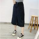 skirt Summer 2020 XL,2XL,3XL,4XL black Mid length dress Versatile High waist A-line skirt Solid color Type A Denim