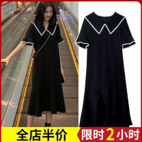 Women's large Summer 2020 Dress singleton  Sweet easy thickening Conjoined elbow sleeve Solid color High collar Three dimensional cutting puff sleeve Zijing 18-24 years old Bandage longuette Other polyester 95% 5% Pure e-commerce (online only) Irregular skirt shorts solar system