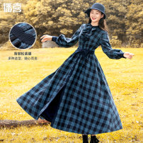 Dress Autumn of 2019 Blue grid grey grid S M L longuette singleton  Long sleeves commute Crew neck High waist lattice Single breasted Big swing bishop sleeve Others 25-29 years old Type X Broadcast joy Retro Lace up printing with ruffles Q91400367 71% (inclusive) - 80% (inclusive) polyester fiber